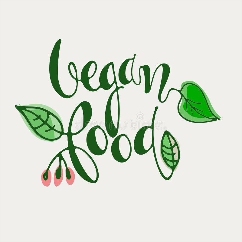 Lettres à la main de Vegan Food décorées de feuilles sur fond blanc Icône, logo, bannière, étiquette, marque illustration stock