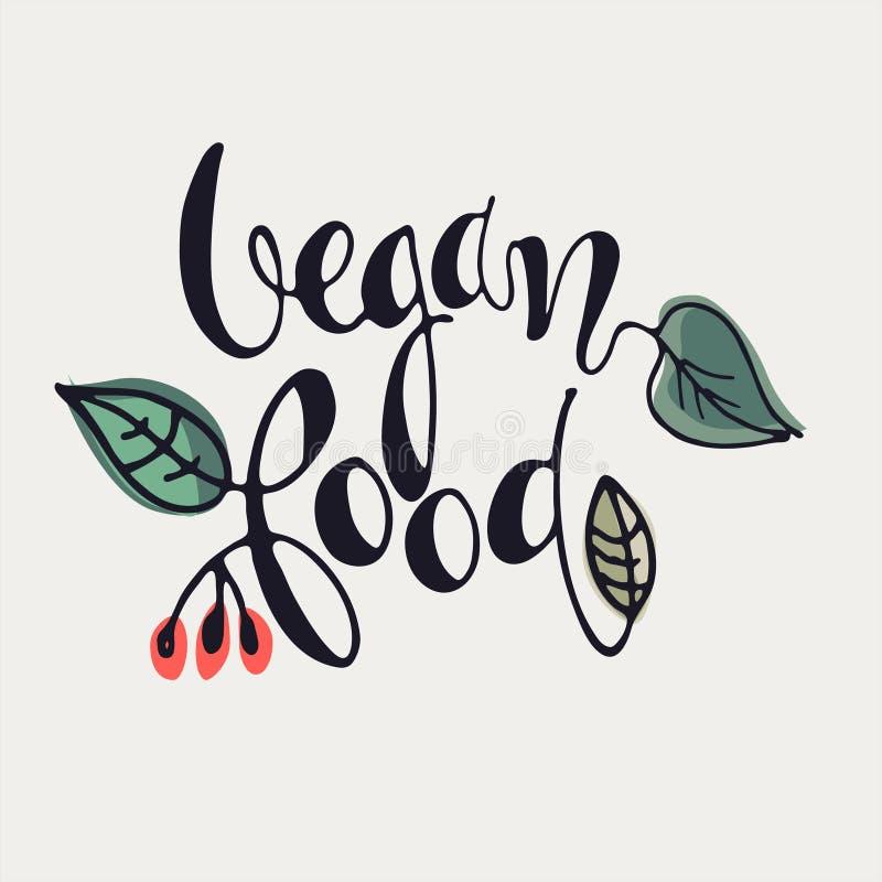 Lettres à main Vegan Food avec décoration florale sur fond blanc Logo et bannière illustration de vecteur
