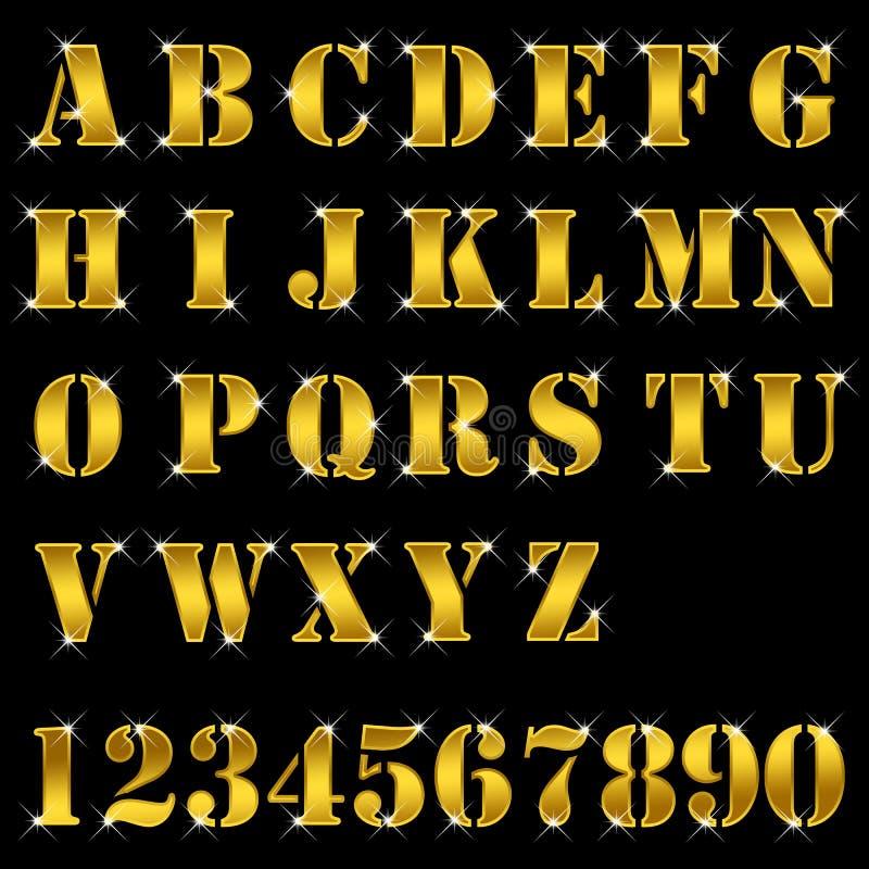 Or, lettres, alphabet, numéros illustration libre de droits
