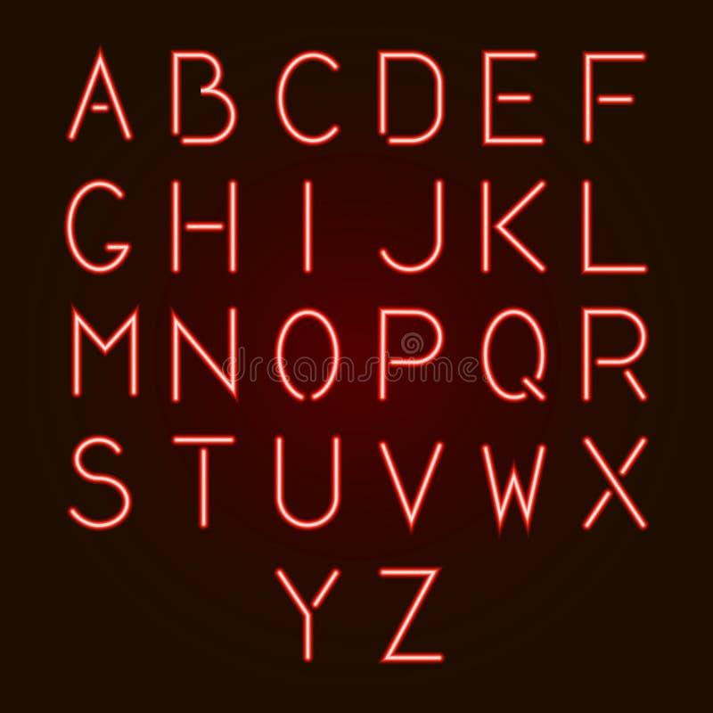 Lettres au néon rouges rougeoyantes d'alphabet d'A - Z Illustration de vecteur illustration libre de droits