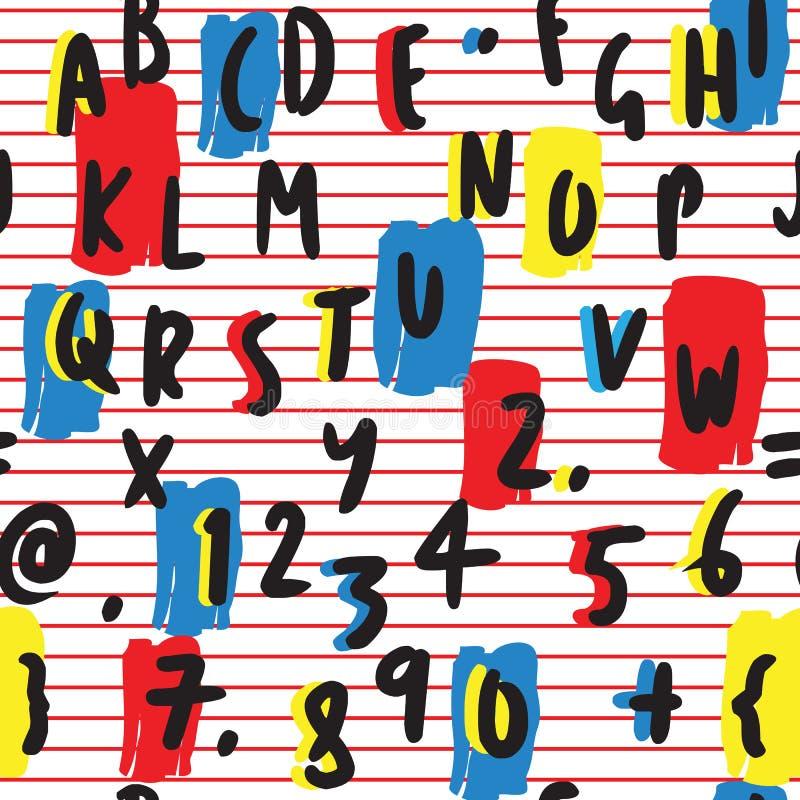 Lettres audacieuses et colorées et modèle sans couture tiré par la main de nombres sur Stri rouge Fond blanc illustration stock