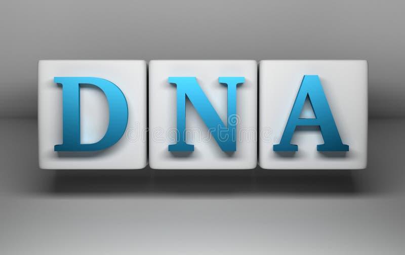 Lettres bleues d'ADN sur des cubes en petit morceau illustration de vecteur