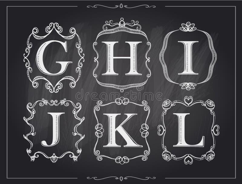 Lettres calligraphiques de vintage de craie de tableau noir dans de rétros cadres de monogramme, logos d'alphabet illustration de vecteur