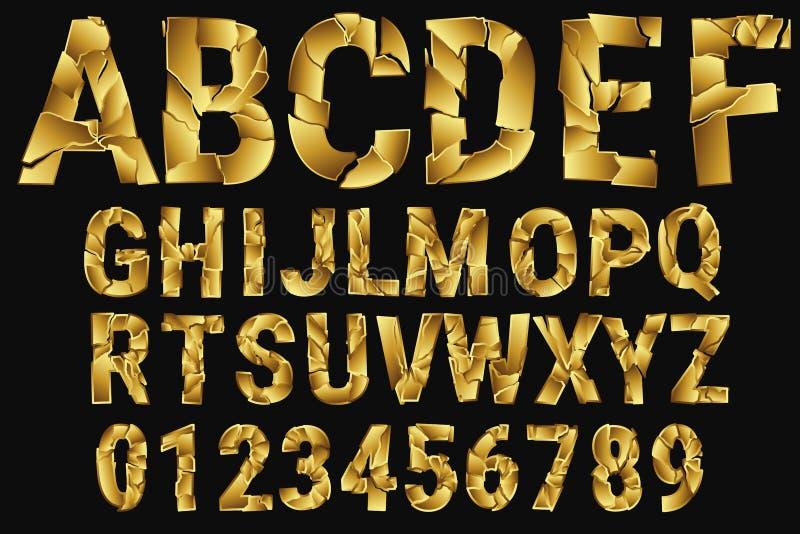 Lettres cassées d'or L'alphabet des morceaux d'or Alphabet décoratif A-Z, 0-9 Illustration de vecteur illustration libre de droits