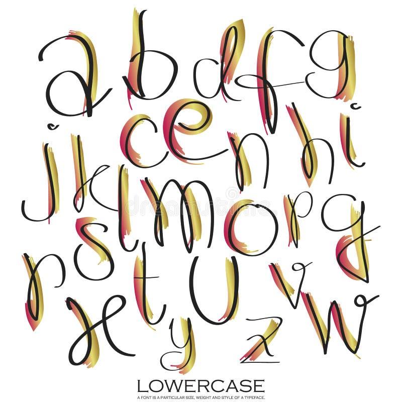 Lettres colorées d'alphabet d'encre d'or rose noir Tiré par la main écrit illustration de vecteur
