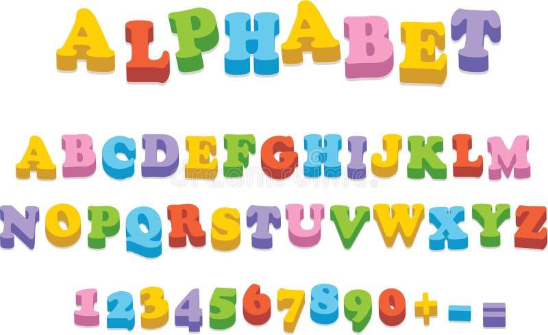 Lettres d'épellation d'alphabet d'aimant de réfrigérateur de vecteur illustration stock