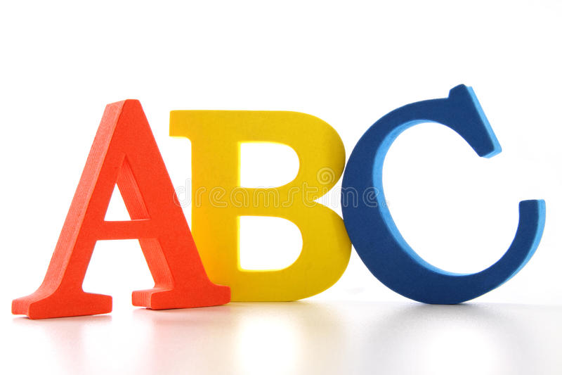 Lettres d'ABC sur le blanc photographie stock
