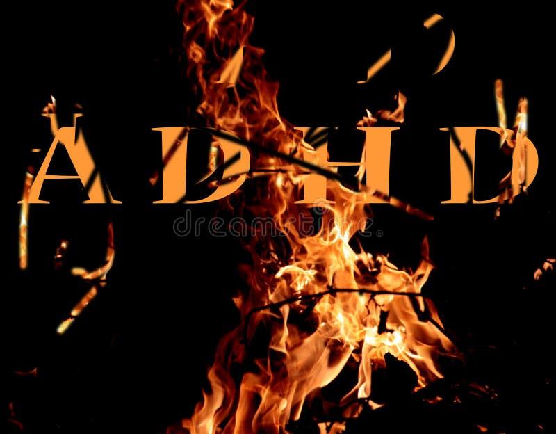 Lettres d'Adhd sur un fond du feu photo stock