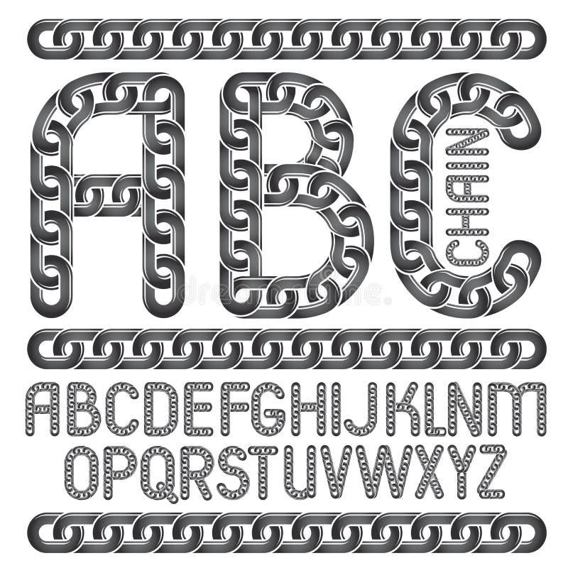 Lettres d'alphabet anglais de vecteur, collection d'ABC Decorat capital illustration libre de droits