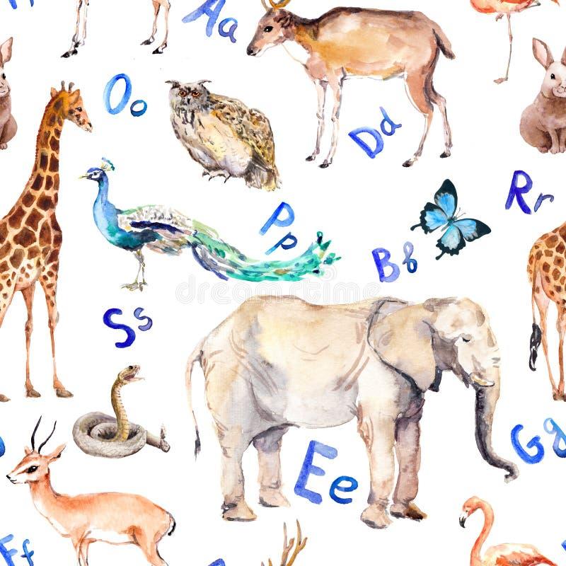 Lettres d'alphabet, animaux sauvages, oiseaux Configuration sans joint enfantine Aquarelle de zoo illustration de vecteur