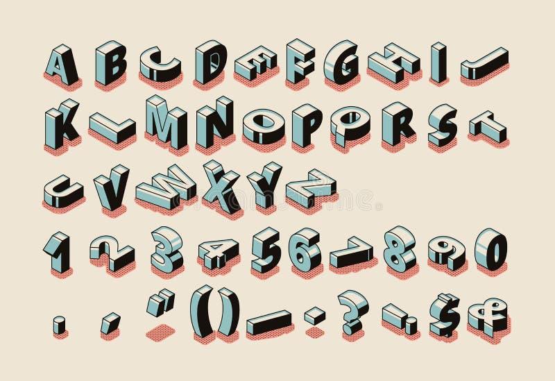 Lettres d'alphabet, chiffres, vecteur isométrique de symboles illustration stock