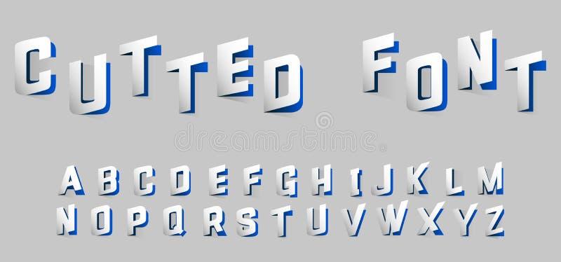 Lettres d'alphabet coupées du style bleu de papier illustration libre de droits