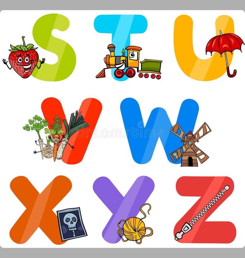 Lettres d'alphabet de bande dessinée d'éducation pour des enfants illustration stock