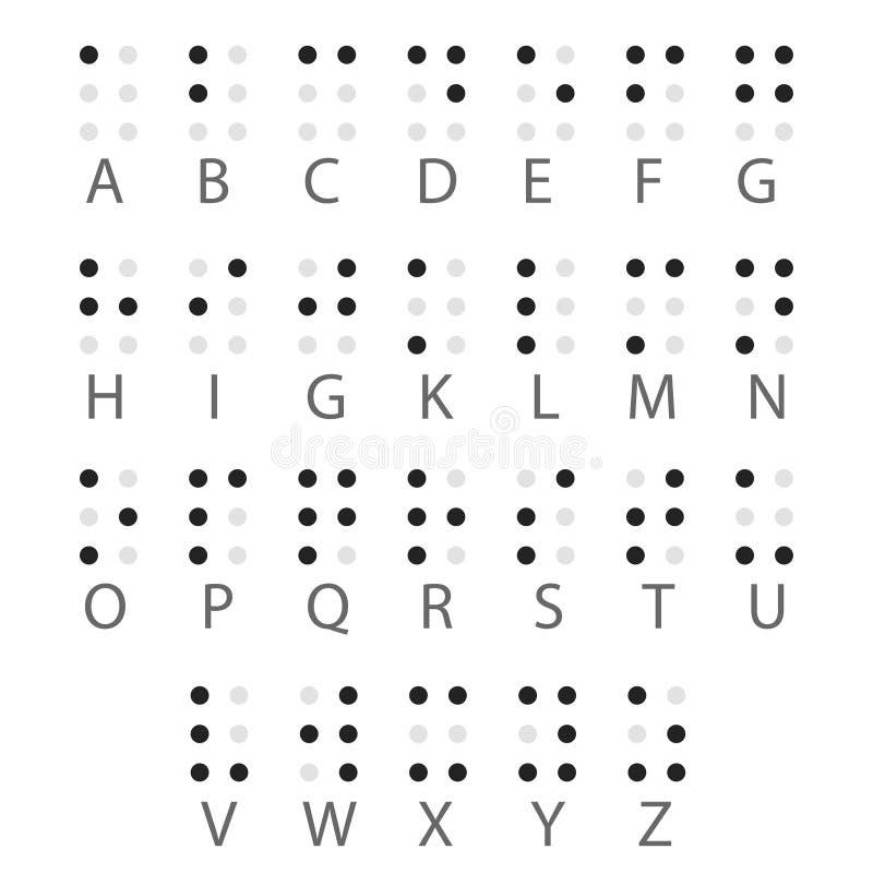 Lettres d'alphabet de Braille anglais Vecteur illustration libre de droits