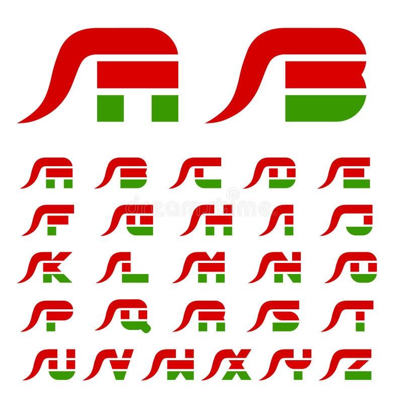 Lettres d'alphabet de police de poivre de piments chauds de flamme illustration libre de droits