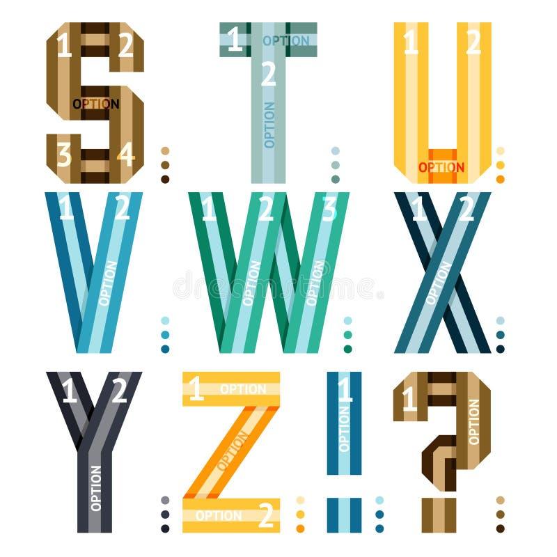 Lettres d'alphabet des rubans et des lignes illustration stock