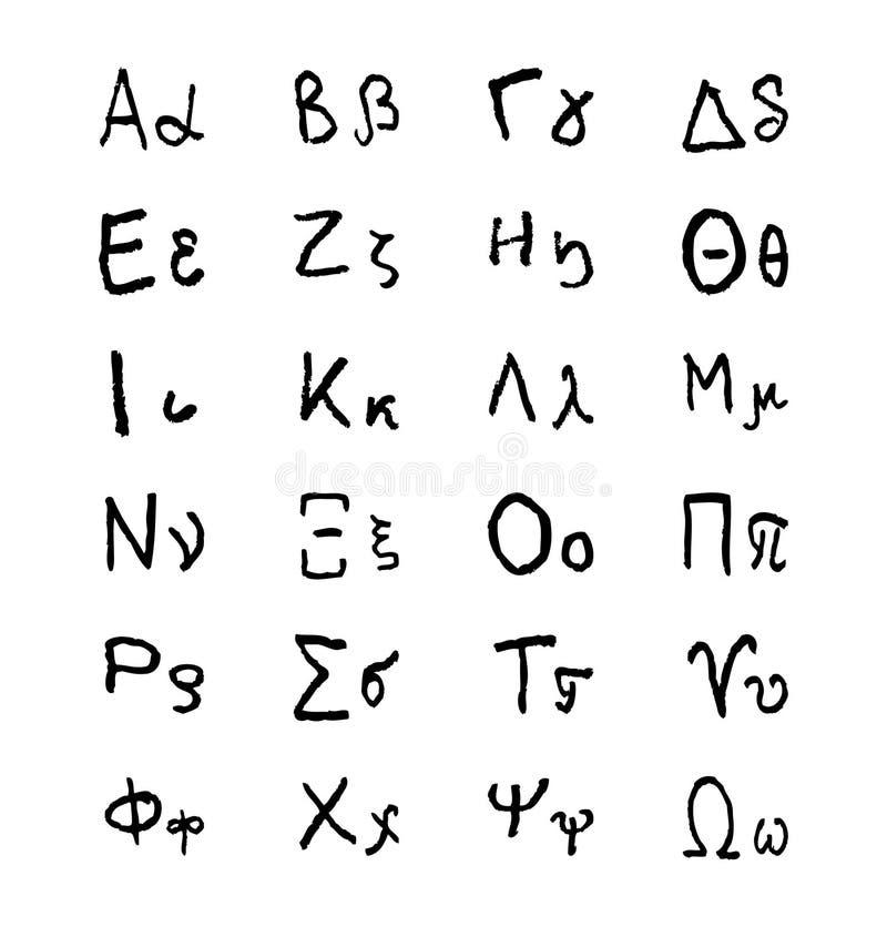 Célèbre Lettres D'alphabet Grec De Griffonnage Police De Vecteur Tirée Par  JX53