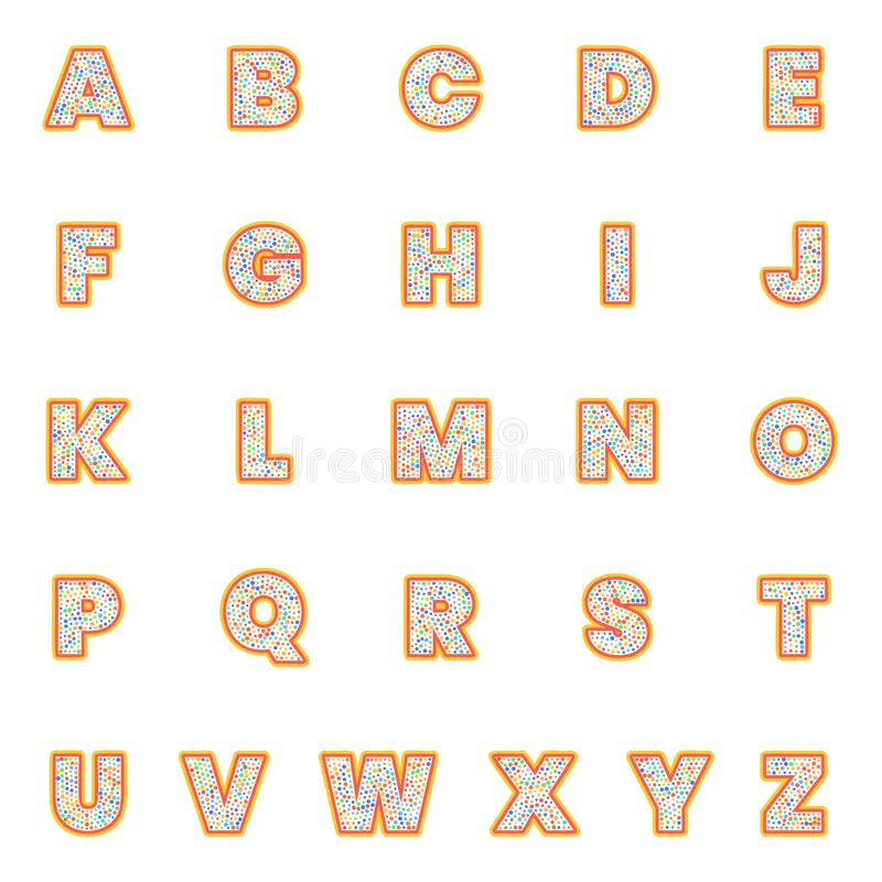 Lettres d'alphabet réglées Style de point de polka, rétro conception de typographie de vintage Collection de police pour la conce illustration stock