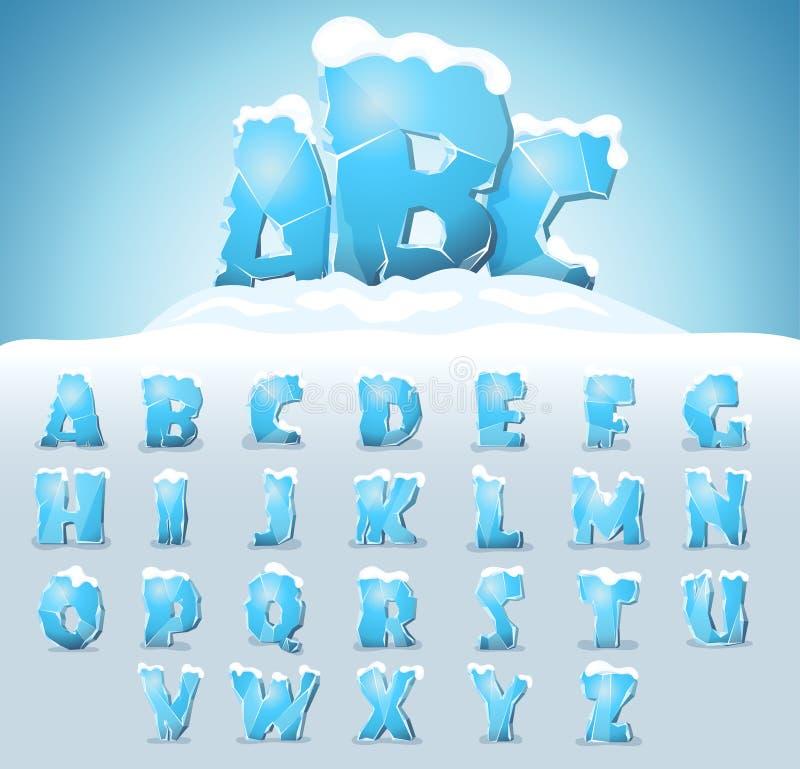 Lettres de glace avec la neige illustration libre de droits