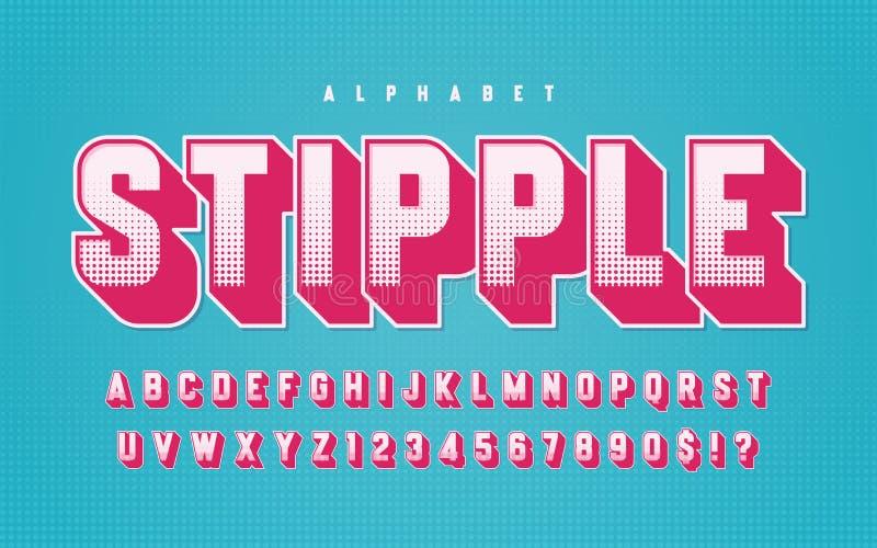 Lettres de haut de casse dénommées tramées colorées de vecteur, alphabet, type illustration libre de droits