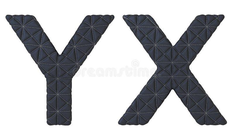 Lettres DE X/Y de police en cuir piquées par noir de luxe illustration stock