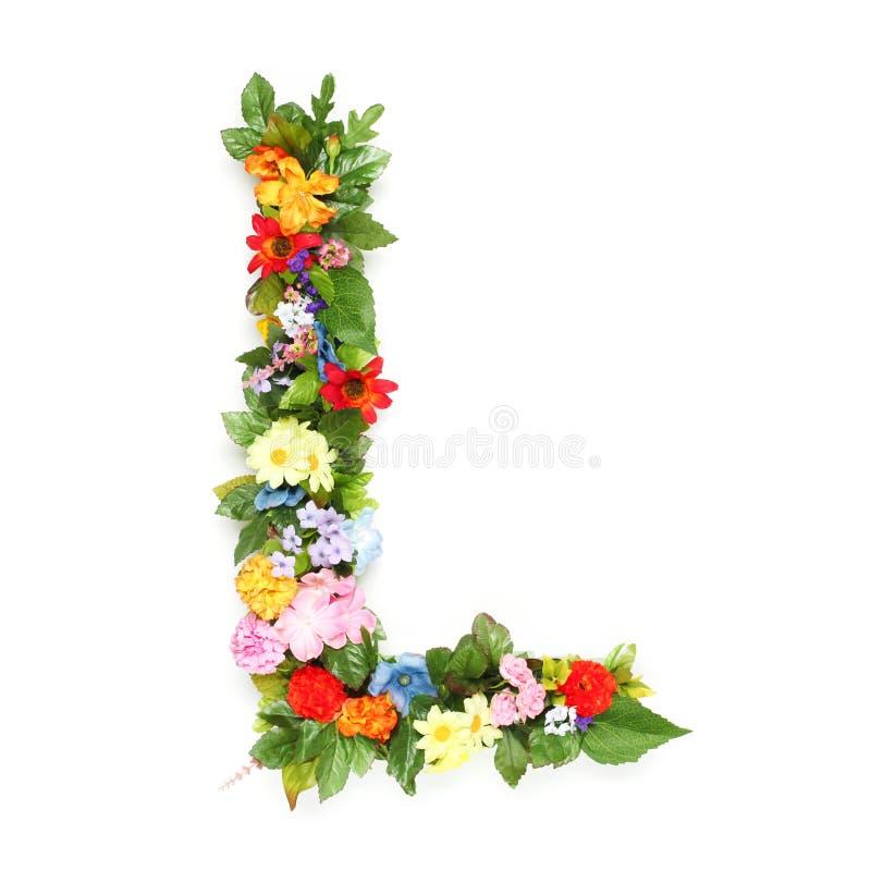 Lettres des feuilles et des fleurs photographie stock libre de droits