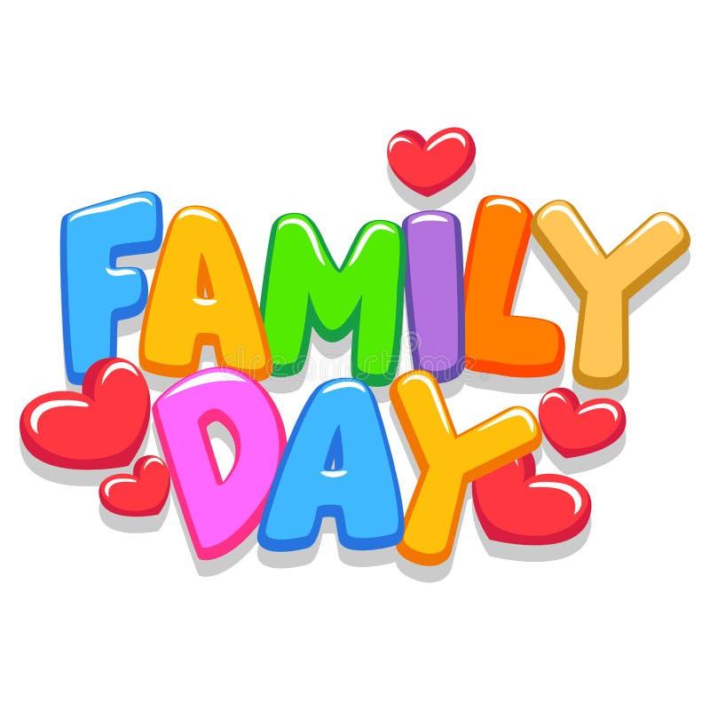 Lettres du jour 3d de famille illustration libre de droits