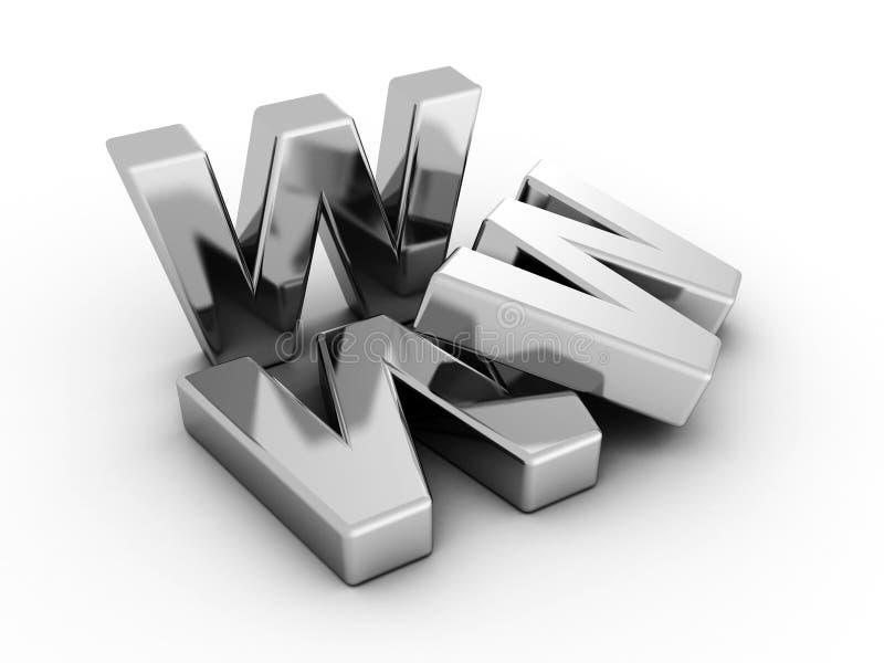 Lettres en ligne de concept de Web métallique d'Internet de WWW illustration de vecteur