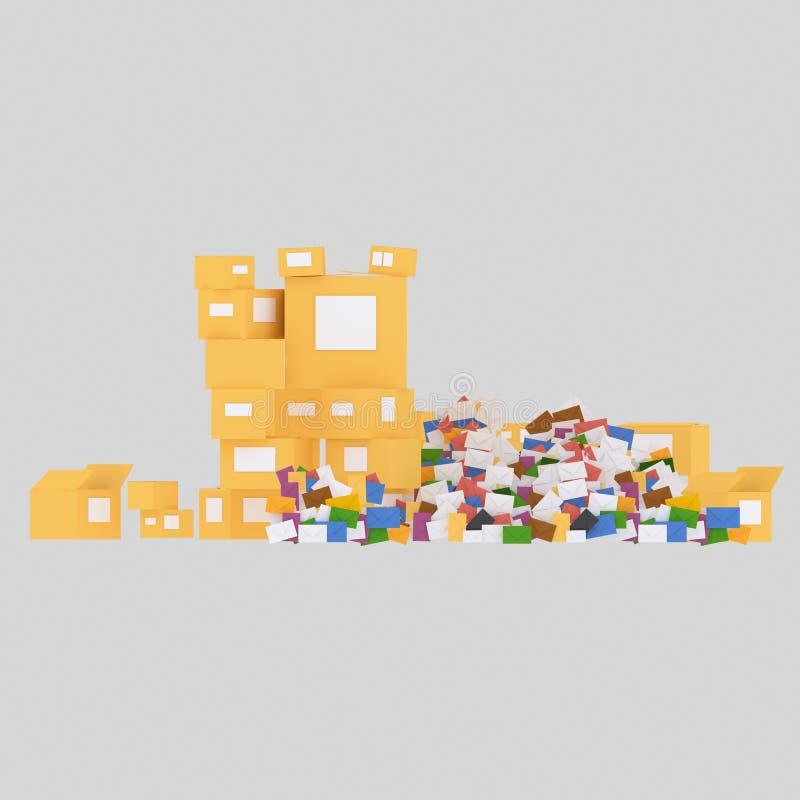 Lettres et boîtes 3d illustration stock