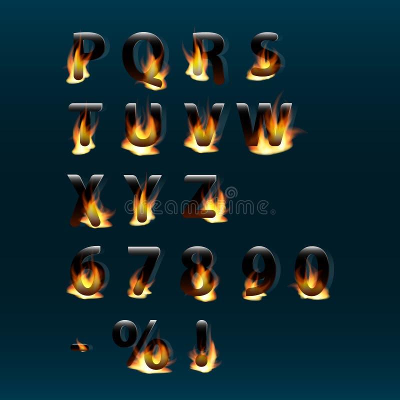 Lettres et nombres chauds sur le feu Alphabet Police de vecteur brûlante du feu Partie 2 illustration libre de droits