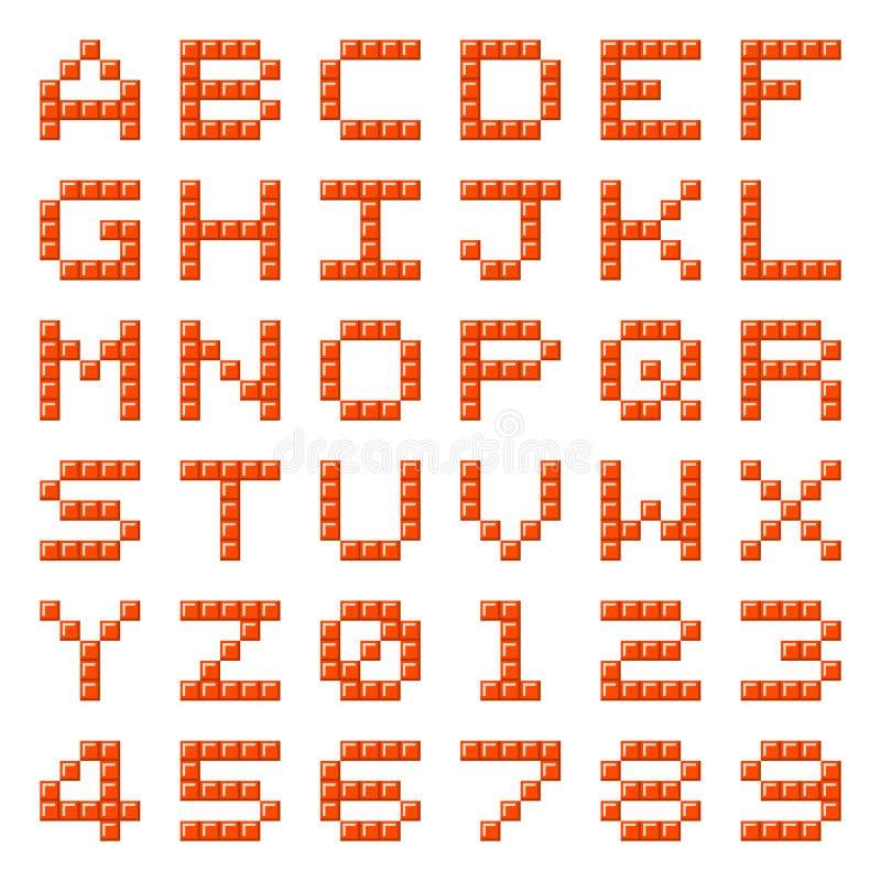 Lettres et nombres d'alphabet de bloc de pixel illustration libre de droits