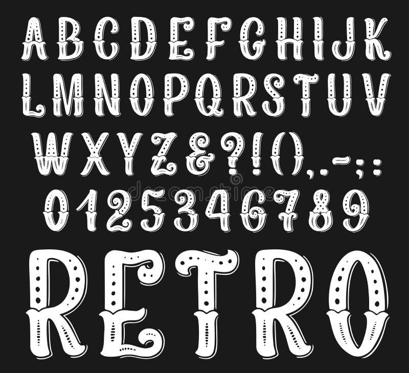 Lettres et nombres de police de vintage de vecteur rétros illustration stock