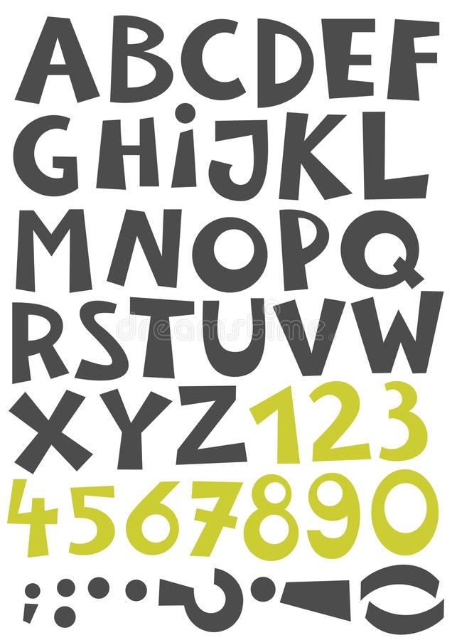 Lettres et nombres gris et verts illustration de vecteur