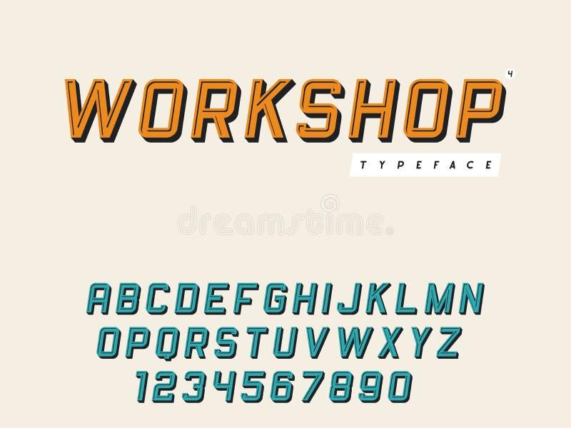 Lettres et nombres majuscules latins d'alphabet de vecteur R?tro police 3d illustration de vecteur