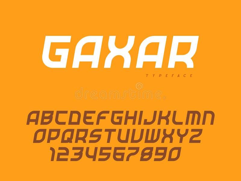 Lettres et nombres majuscules latins d'alphabet Police abstraite Illustration de vecteur illustration de vecteur