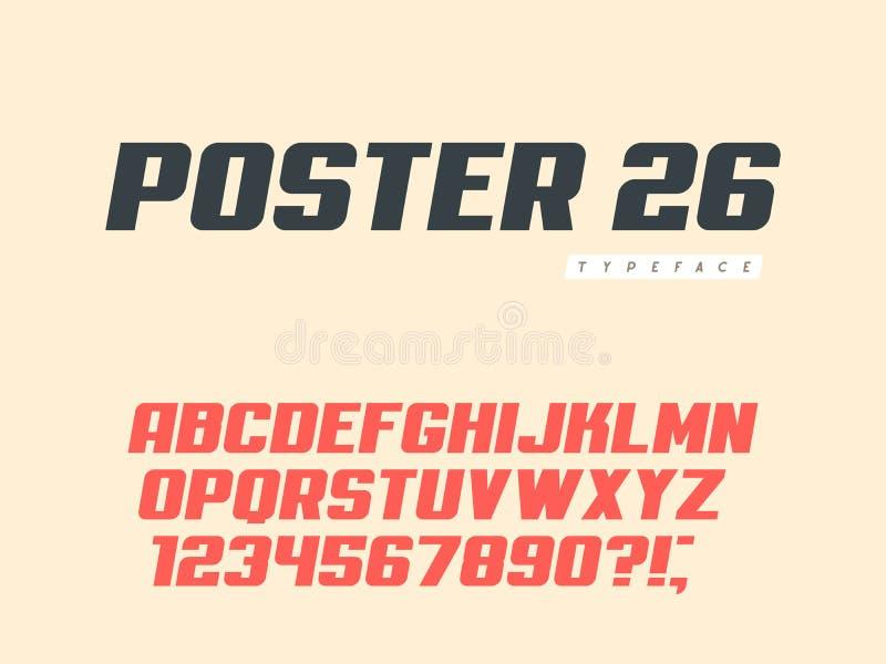 Lettres et nombres majuscules latins d'alphabet R?tro police d'affiche Illustration de vecteur illustration stock