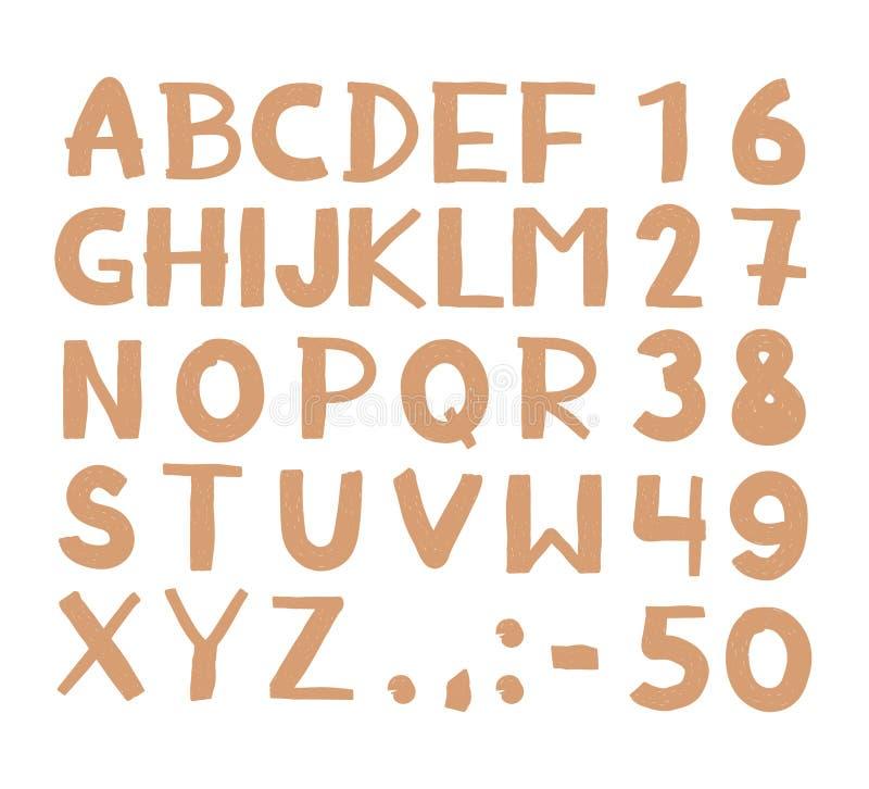 Lettres et nombres tirés par la main de vintage de hippie illustration stock