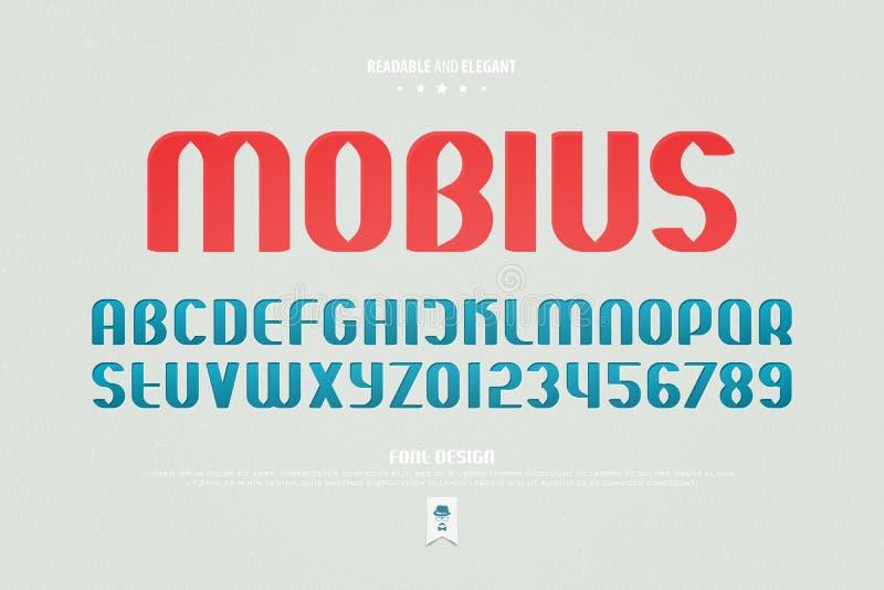 Lettres et nombres urbains d'alphabet de style , type lisible conception de police illustration libre de droits