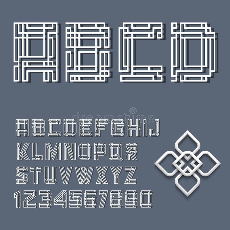 Lettres et numéros blancs d'alphabet illustration libre de droits
