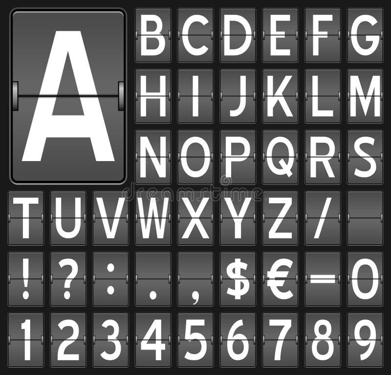 Lettres et numéros de panneau de chiquenaude illustration libre de droits