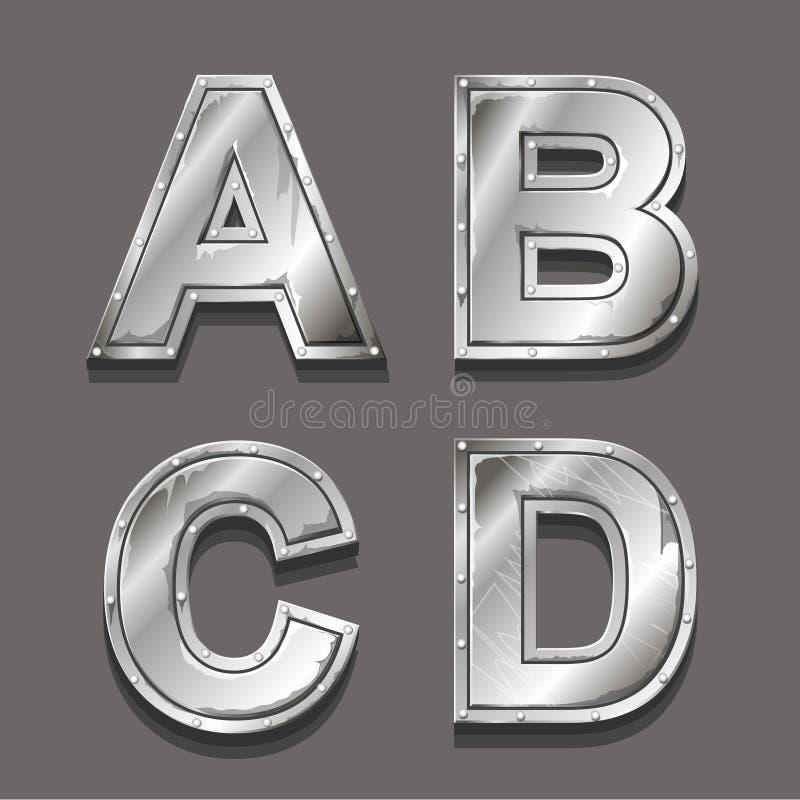 Lettres et symboles en métal illustration de vecteur
