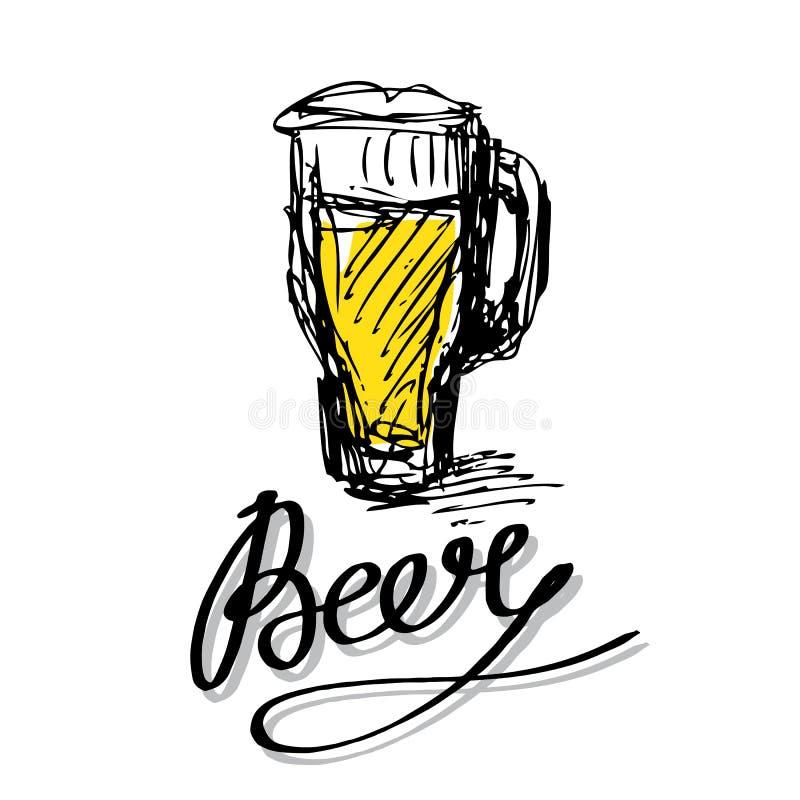 Lettres et verre de bière illustration de vecteur