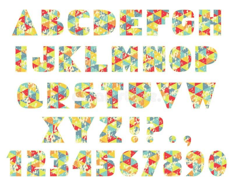 Lettres géométriques de triangles de vintage illustration stock