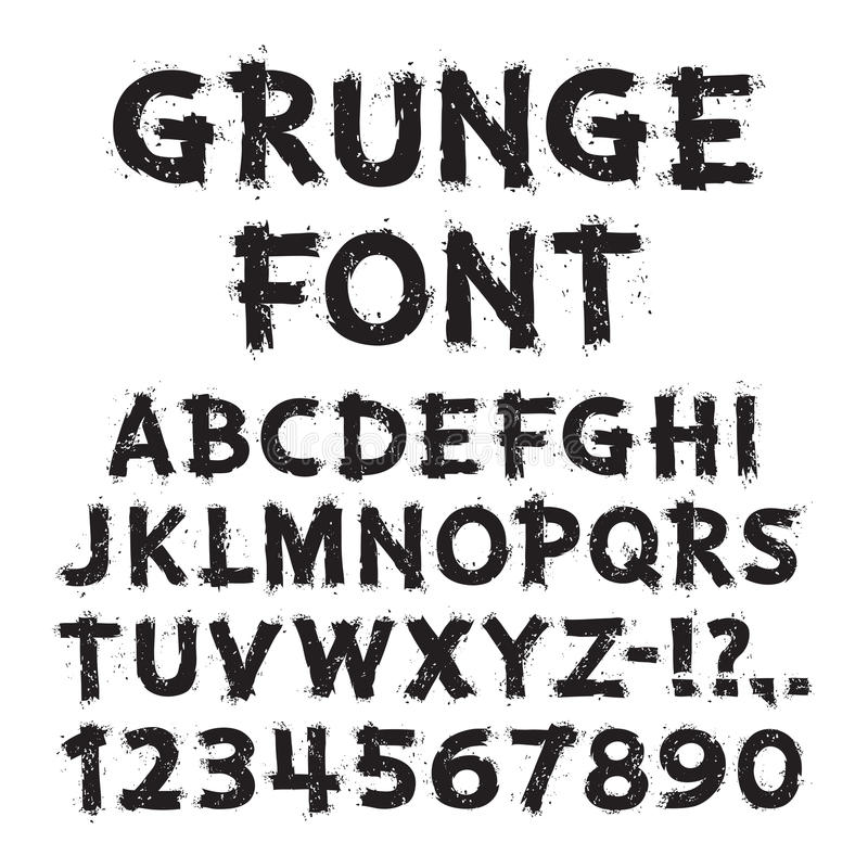 Lettres grunges et nombres sur le fond blanc illustration stock