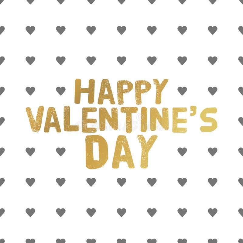 Lettres heureuses d'or de jour de valentines Illustration de carte de voeux illustration de vecteur