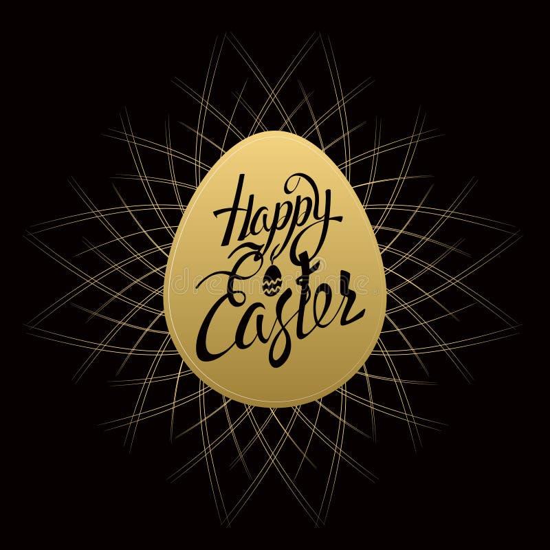 Lettres heureuses de signe de Pâques sur l'oeuf d'or illustration stock