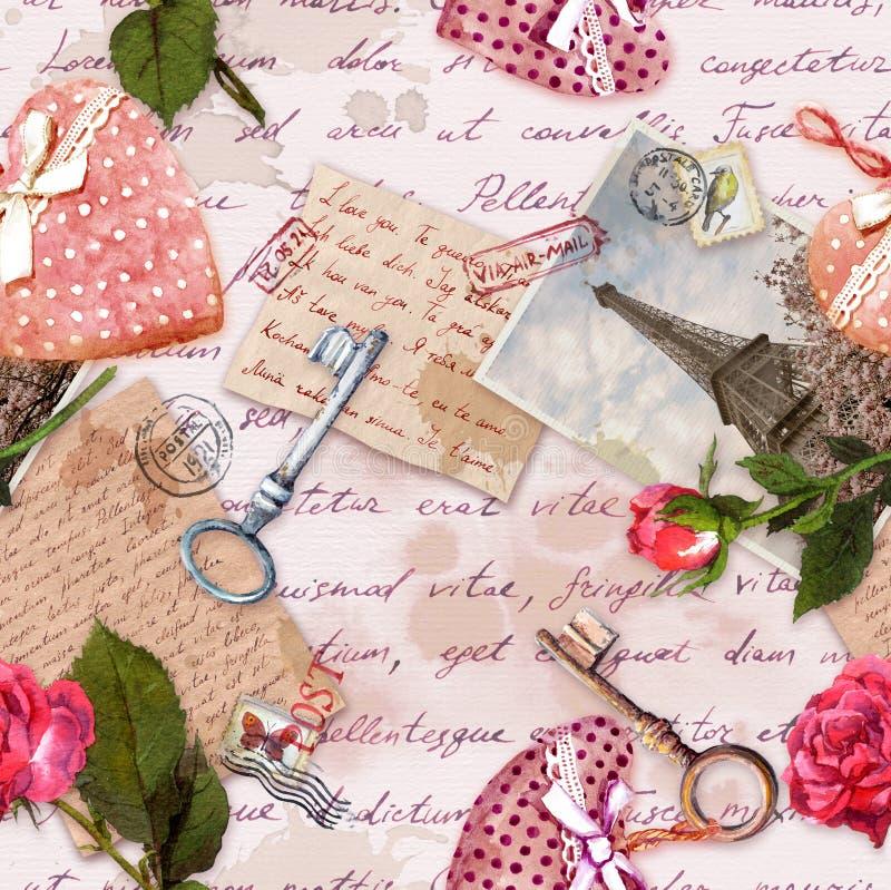 Lettres manuscrites, photo de cru de Tour Eiffel, coeurs, fleurs roses, timbres, clés Répétition du fond, amour photo stock