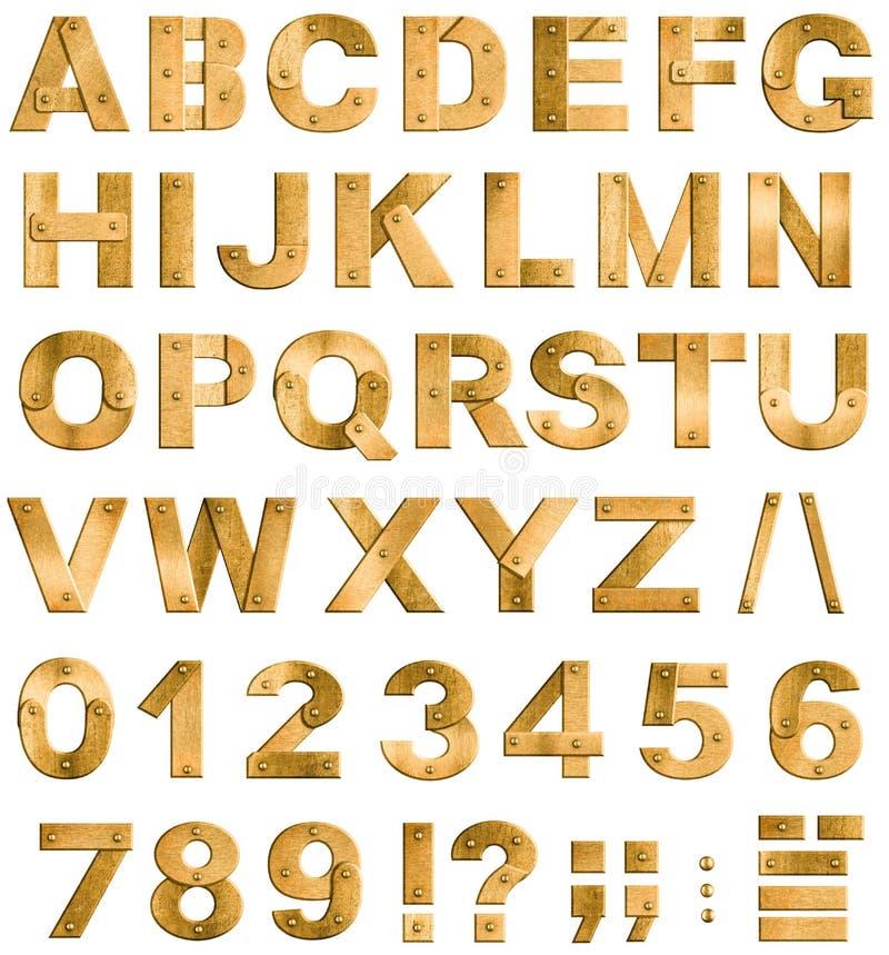 Lettres ou police d'or ou en laiton d'alphabet en métal illustration stock
