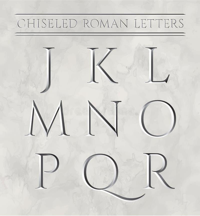 Lettres romaines ciselées dans la pierre de marbre illustration libre de droits