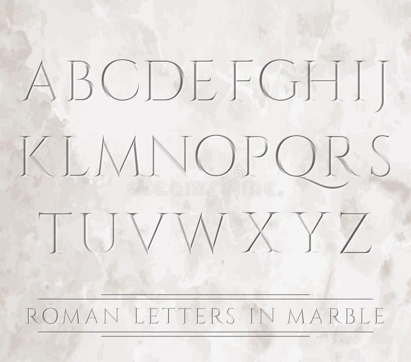 Lettres romaines dans la pierre illustration de vecteur